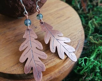 Light forest-inspired earrings for nature lovers, oak leaves with moss agate, handmade jewelry
