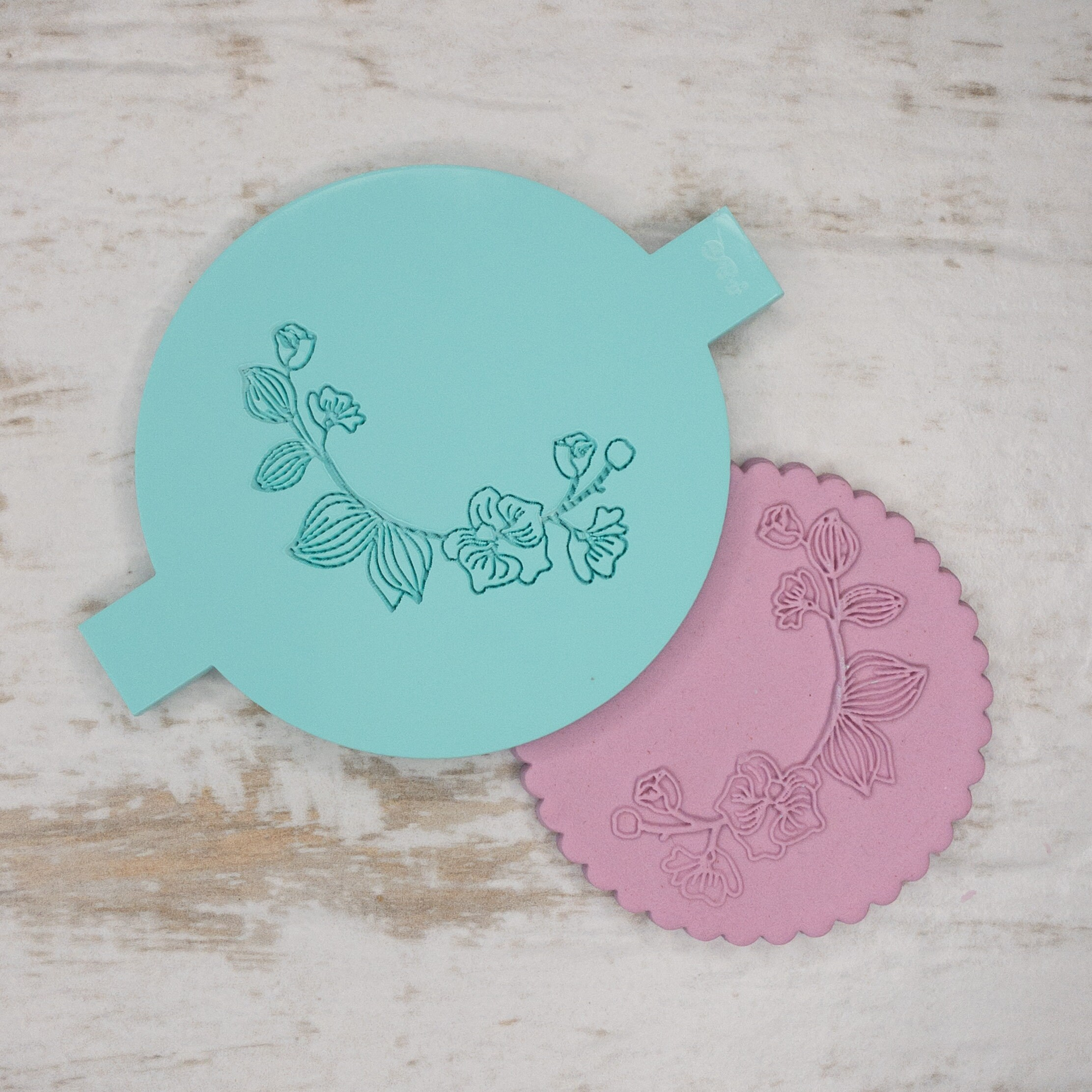 Orchid Detail Biscuit Cookie POPup Embosser Stamp Fondant Cake Decorating Icing