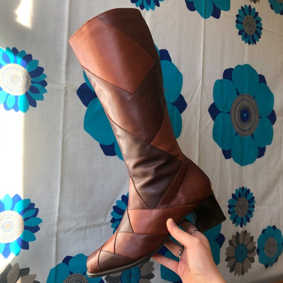 60s style brown leather patchwork boots with match