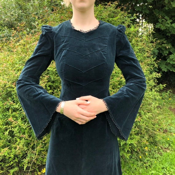vintage dark green velvet prairie dress