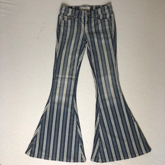 striped Free People bell bottom jeans