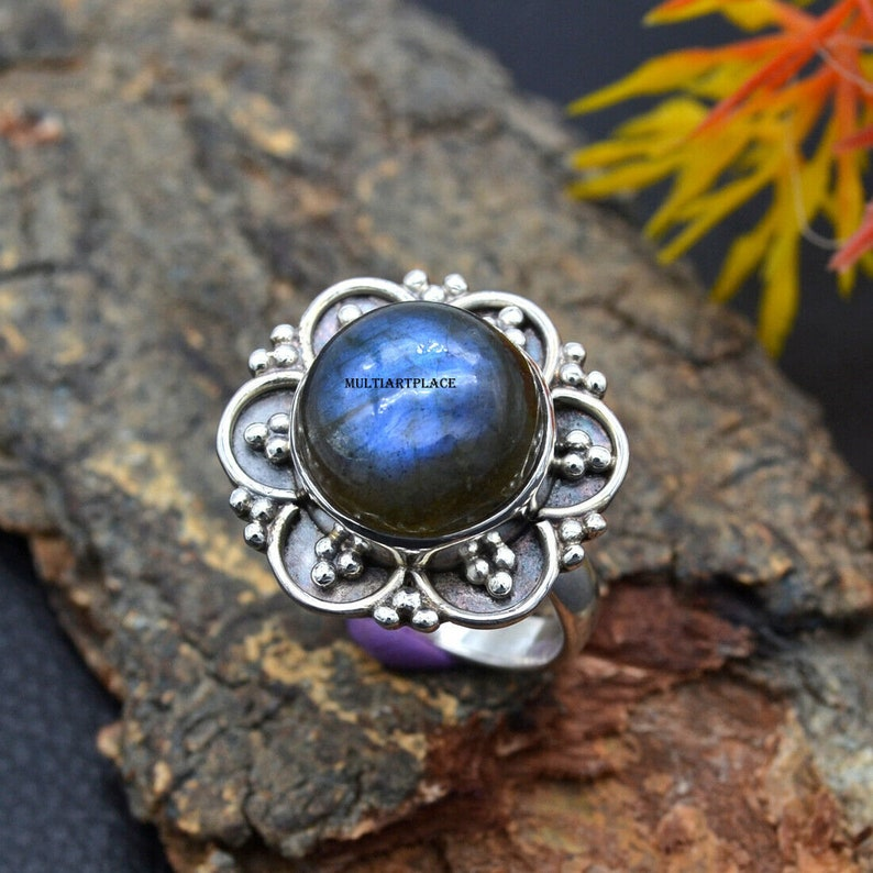 Labradorite Ring,925 Sterling Silver Ring,Boho Ring,Handmade Silver Gemstone Statement Ring,Hand Crafted Stamped Women Silver Jewelry Ring