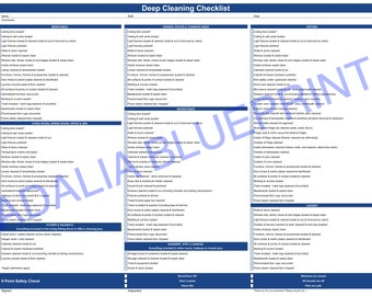 Deep Cleaning Checklist Blue (Printable)