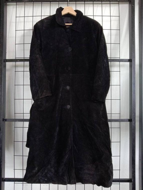 Vintage Black suede trench coat