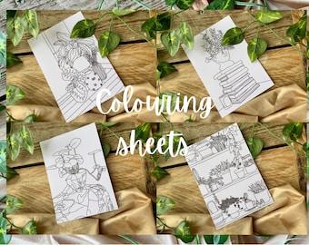Plants - Colouring sheet set - A6 colouring sheets - arts and crafts - colouring sheets - colouring - colouring book - plant mum - plants