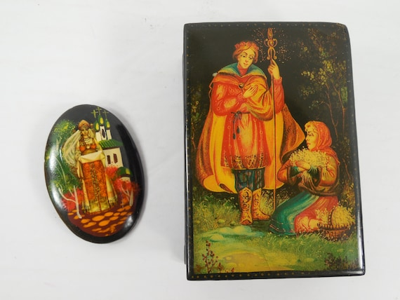 Russian Women Castle Hand Painted Lacquer Wood Bro