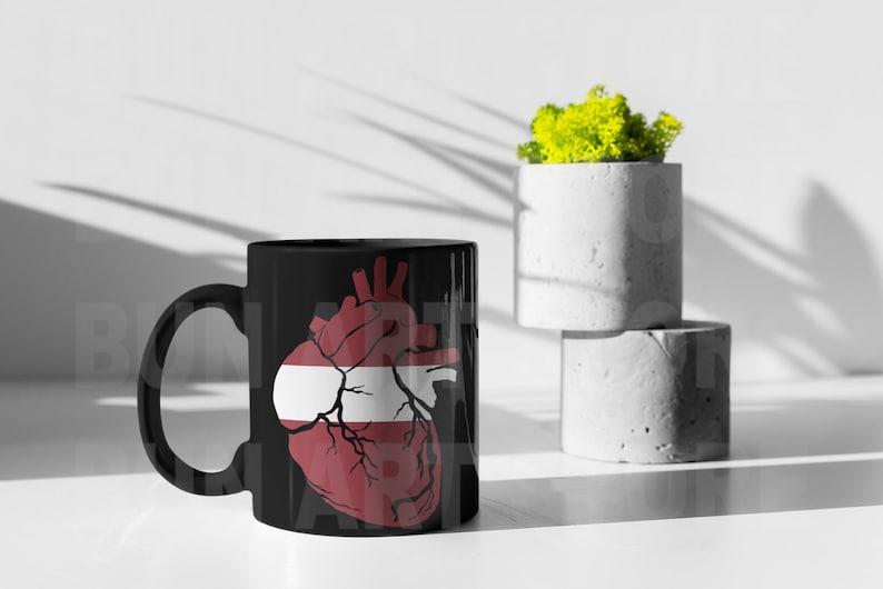 Latvian flag instant download anatomical heart PNG