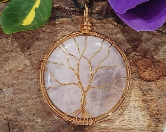 inner healing fertility Rose quartz large moon wrapped Tree of Life necklace silver finish wire Love peace