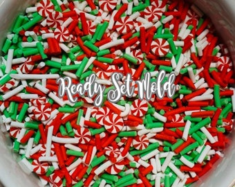 Holiday Christmas Peppermint Polymer Clay Sprinkle Mix Fake Faux Sprinkles Confetti Charms Slime Resin Nails Epoxy Fake Food Topping