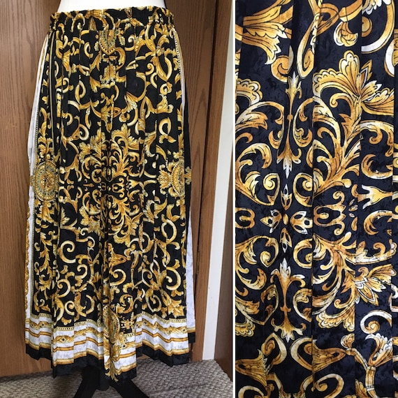 Vintage Paul Anthony Collection Accordion Pleated Maxi Skirt Damask 80/'s 90/'s