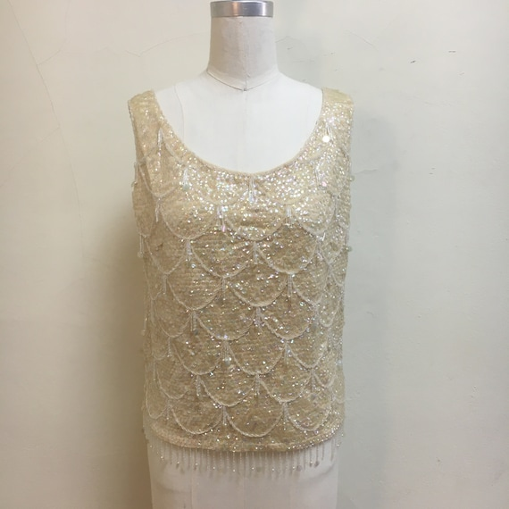 Sz. L 1960s Ivory Bead and Sequin Fringe Sweater