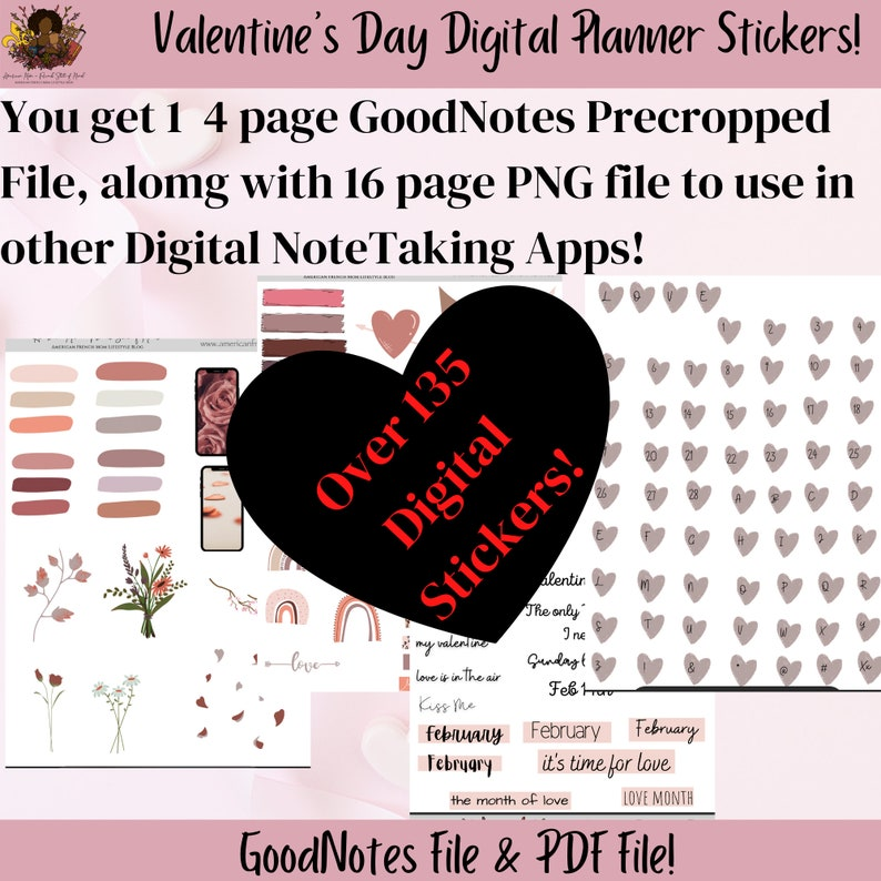 VALENTINE'S Digital Planner Stickers February Precropped image 0