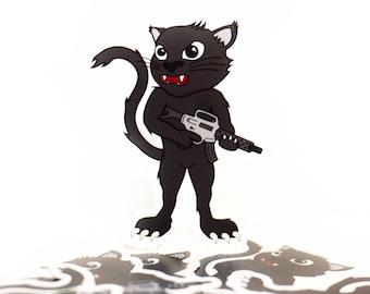 Gat Cat Gun Sticker