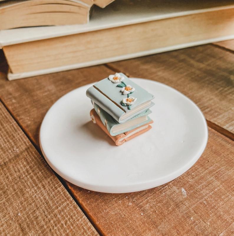 Free Shipping Engagement Ring Dish Clay Dish Book Stack Trinket Dish Ring Dish