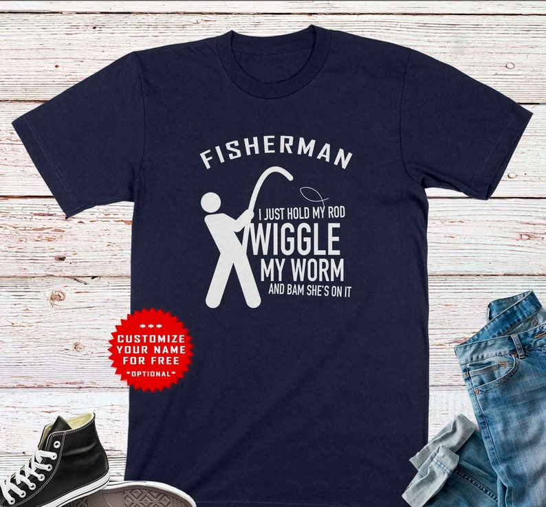 Fisherman Customized Shirt for Husband Boyfriend Funny Gone Fishing Tee Personalised Gift for Fisher Dad Son Brother Birthday Shirt for Him