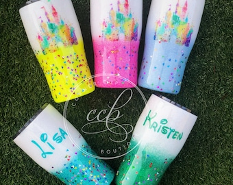 Castle Watercolor Tumbler, Magical Kingdom , Personalized Tumbler , Disney Glitter Cup , Castle Cup , Stainless Steel Tumbler