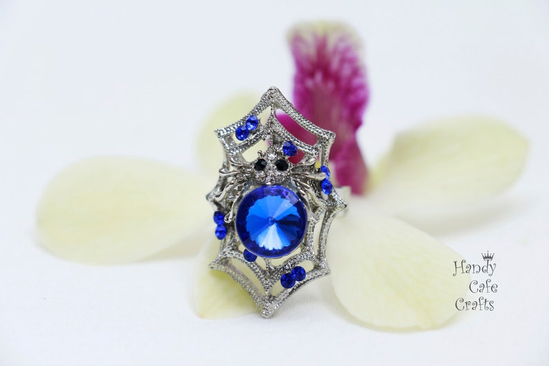 Free size ring Blue stone ring rings with blue stone Unique ring for women silver color ring Spider style ring Spider web ring