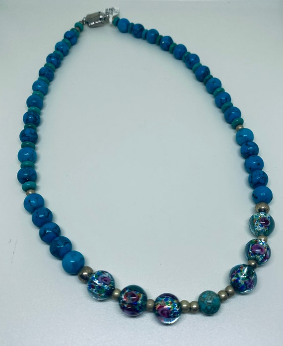 Turquoise & benefits beads necklace