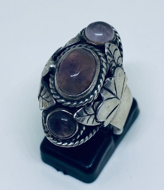 Sterling Silver & Amethyst Poison Ring (Rare )