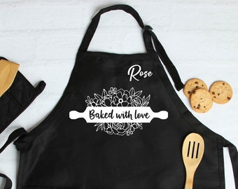 Personalized Kids Apron with Utensils Rolling Pin Spoon Embroidery Design