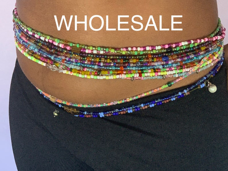 mixed beads Random colors and patterns Red tie on African Waist beads green 25 waist beads