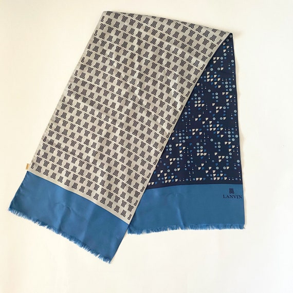 Vtg 70s Lanvin Geometric Silk Scarf - image 1