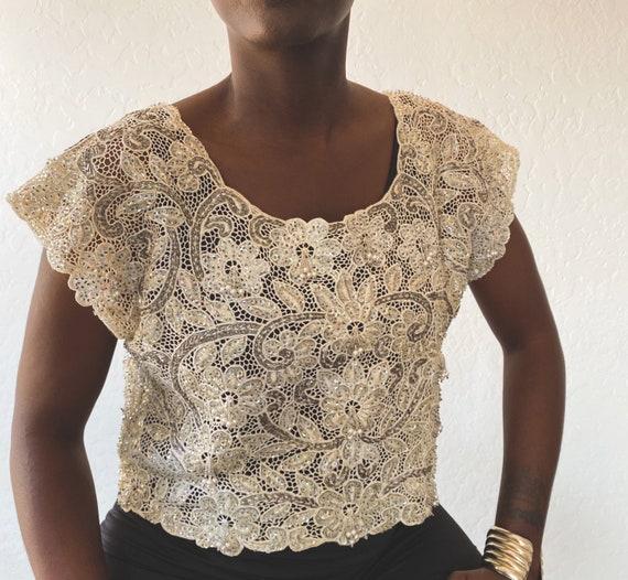 Vintage Embellished Cropped Lace Top