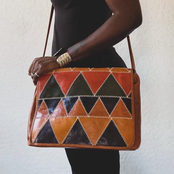 Vtg Leather Patchwork Messenger Bag