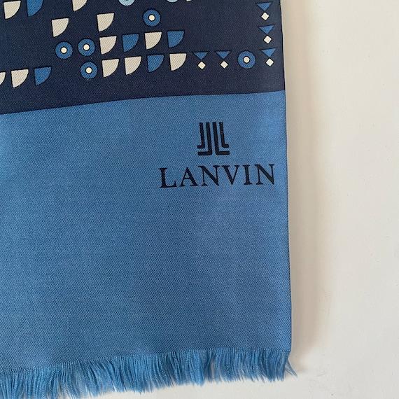 Vtg 70s Lanvin Geometric Silk Scarf - image 3