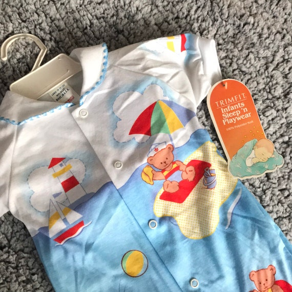 VTG Lisa Jackson Baby Boy Quilted Footed Romper Clown Balloons Newborn