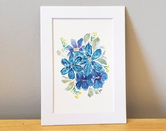 Blue and Purple Watercolor Painting - Original