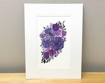 Hand Painted Black and Purple Watercolor Floral - Original Artwork