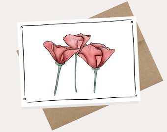 Printable Card, Blank Inside, Flower - PDF, A2