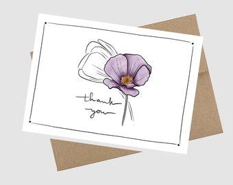 Digital Download Thank You Card, Blank Inside, Flower - PDF, A2