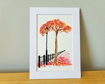 Fall Tree Street Lamp - Original Watercolor Painting
