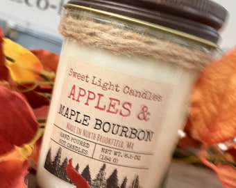 Hand Poured Small Batch Soy Candles-Apples and Maple Bourbon