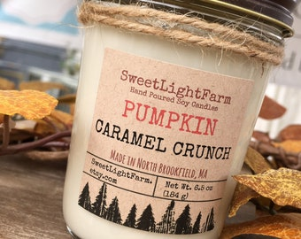 Hand Poured Small Batch Soy Candles-Pumpkin Caramel Crunch