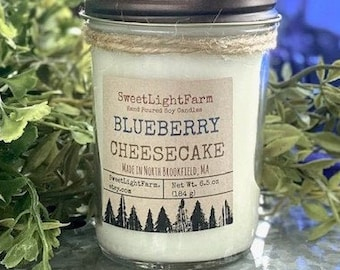 Hand Poured Small Batch Soy Candles-Blueberry Cheesecake