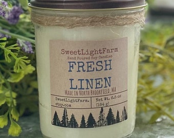 Hand Poured Small Batch Soy Candles-Fresh Linen