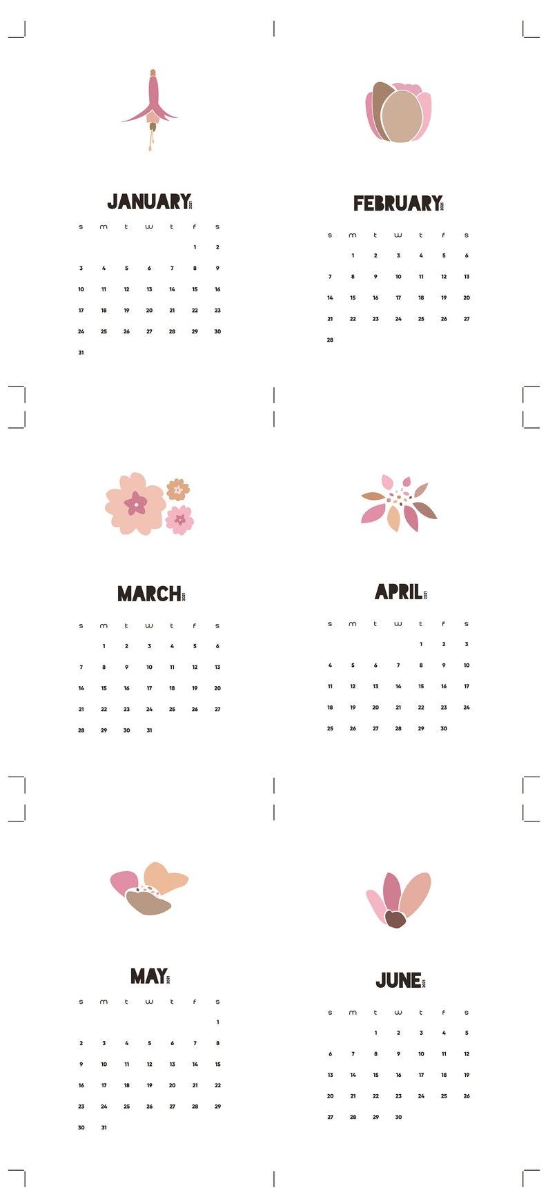 2021 Printable Flowery Calendar Monthly Desk Calendar Home ...