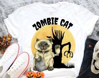 Funny Halloween T-Shirt, Zombie Cat Shirt, Zombie Tshirt, Cat Tshirt, Short-Sleeve Unisex T-Shirt