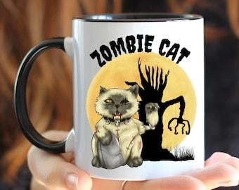 Funny Halloween Coffee Mug, Zombie Cat Mug, Cat Coffee Cup, Zombie Mug, Mug with Color Inside