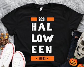Halloween Shirt, 2021 Halloween Vibes T-Shirt, Short-Sleeve Unisex T-Shirt, Vintage Halloween