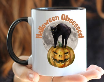 Halloween Coffee Mug, Halloween Obsessed Mug, Mug with Color Inside, Coffee Cup for Halloween