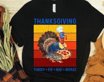 Funny Thanksgiving T-Shirt, Thanksgiving Turkey Pie Nap Repeat Shirt, Thanksgiving Shirt, Short-Sleeve Unisex T-Shirt
