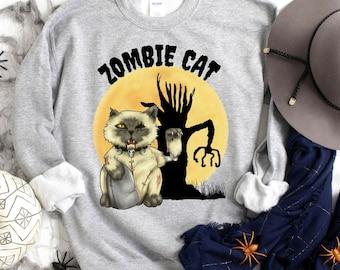 Funny Halloween Sweatshirt, Zombie Cat Sweatshirt, Zombie Shirt, Cat Shirt, Unisex Sweatshirt