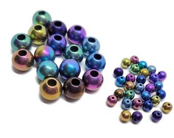 Round Titanium Beads, 4mm or 8mm Solid Grade 5 Titanium with Drilled Holes