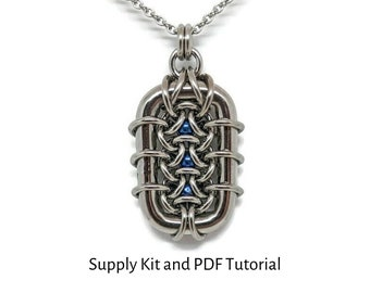 Small Grimalkin Pendant Kit, PDF Tutorial Included, Chainmaille Kit, Stainless Steel Rings and titanium balls, make it yourself, DIY