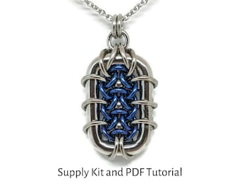 Small Grimalkin Pendant Kit, PDF Tutorial Included, Chainmaille Kit, Titanium and Stainless Steel Rings with Titanium balls, DIY