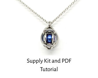 Gemini Captured Ball Bearing Chainmaille Kit, PDF Tutorial Included, Titanium Ball Bearings, Make it Yourself, Project Supply Kit
